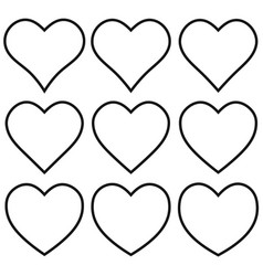 set outline heart shape icon heart shape vector image