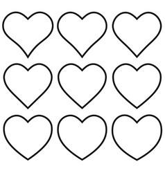 Set outline heart shape icon heart shape vector