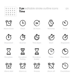 set time and clock line unified icons includes vector image