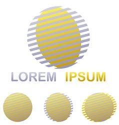 Silver and golden striped circle logo design set vector image
