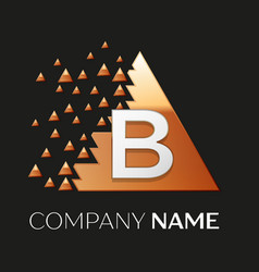 Silver letter b logo symbol in the triangle shape vector