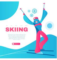 Skiing alpine sport design template with vector