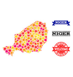Star mosaic map of niger and grunge stamps vector