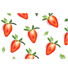 Strawberry sliced juicy poster realistic vector