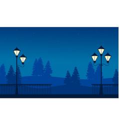 Street lamp on garden beauty landscape silhouettes vector