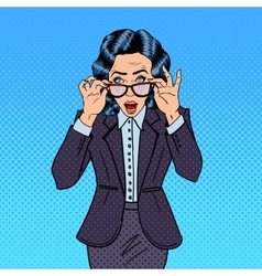 Surprising Business Woman Pop Art vector image