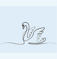 swan logo one line drawing vector image
