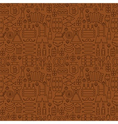Thin Alcohol Beer Line Oktoberfest Seamless Brown vector
