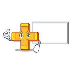 thumbs up with board character line draw symbol vector image