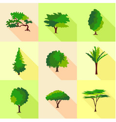 timber icons set flat style vector image