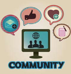 Vintage concept of community with bubbles vector image
