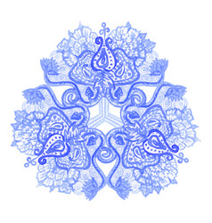 Watercolor folk mandala pattern vector