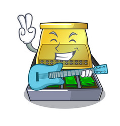 With guitar cash register with lcd display cartoon vector