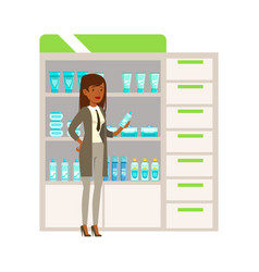 Woman office worker in pharmacy choosing and vector