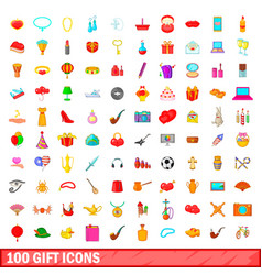 100 gift icons set cartoon style vector image vector image