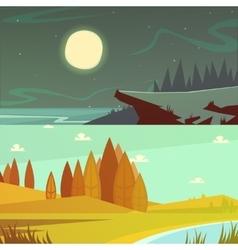 Camping Cartoon Banners Set vector image vector image