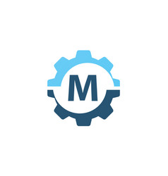 gear solution logo initial m vector image