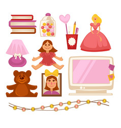 Girl kid room toys and appliances flat vector
