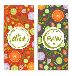 healthy diet vertical flyers set vector image vector image