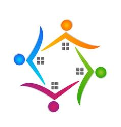 Houses teamwork logo real estate vector image vector image