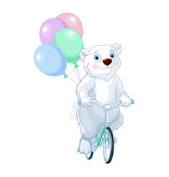 polar bear riding a bicycle with balloons vector image vector image