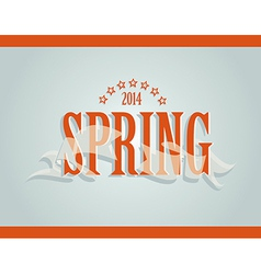 Spring word ribbon and stars vector image vector image