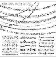 Winter garland brushes setChristmas doodlesBlack vector image vector image