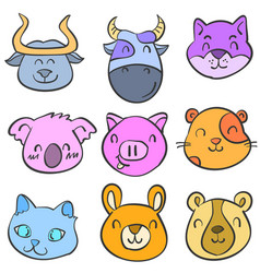 doodle of animal cute funny style for kid vector image