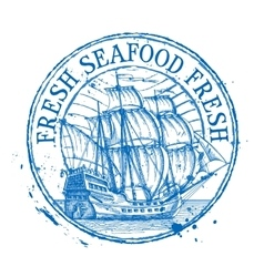 fresh seafood logo design template Shabby vector image vector image