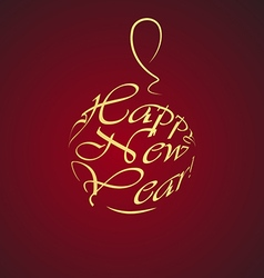 happy new year gold christmas ball on a red vector image vector image