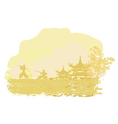 old paper with Samurai silhouette on Asian vector image vector image