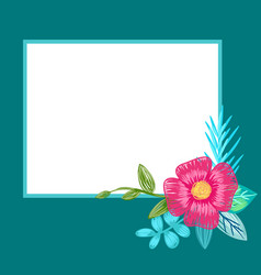 photo frame design with hand drawn pink flower vector image