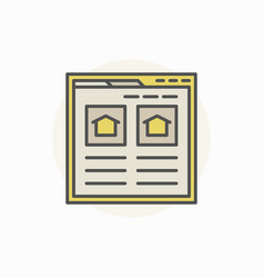 Searching house via internet icon vector