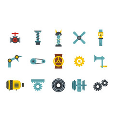 factory tools icon set flat style vector image