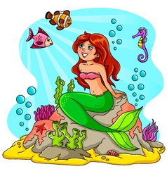mermaid and her friends vector image vector image