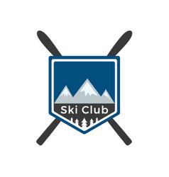 Mounting skiing logo design vector