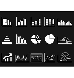 white graph chart icon on black background vector image vector image