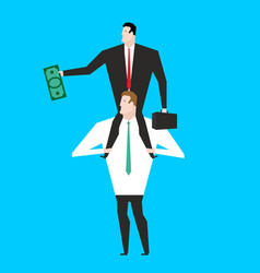 business motivation boss sitting on shoulders of vector image