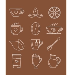 Coffee and tea icons vector image