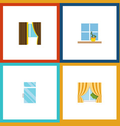flat icon frame set of glass flowerpot clean and vector image vector image