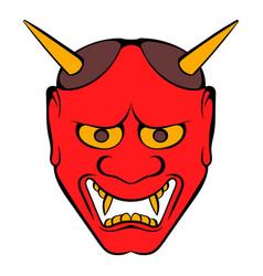 hannya mask icon cartoon vector image