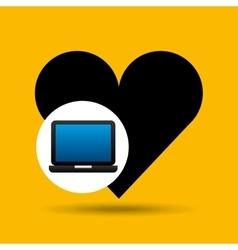 Laptop icon like heart social media vector