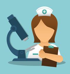 nurse clipboard medical microscope vector image