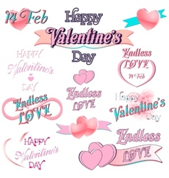 Set of Valentines Day Decorative Elements vector image