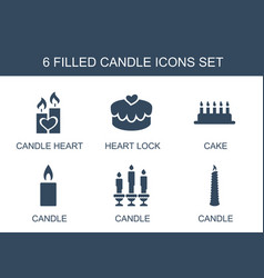 6 candle icons vector