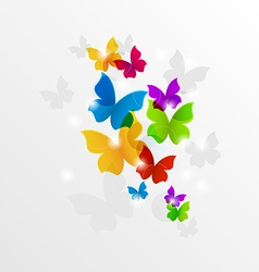 Abstract rainbow butterflies colorful background vector