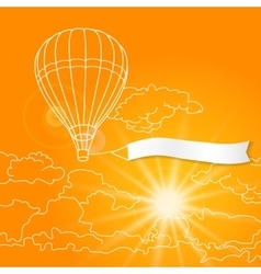 Air balloon with blank banner flying in the sunny vector image