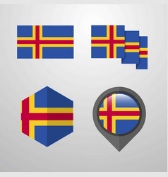 Aland flag design set vector