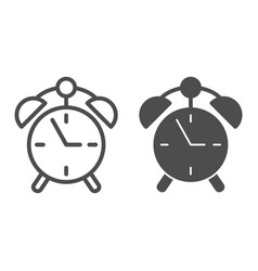 Alarm clock line and glyph icon watch vector