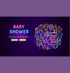 bashower neon banner design vector image